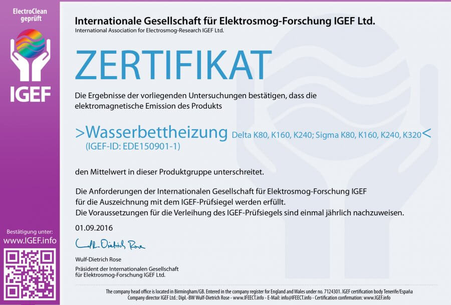 Zertifikat Internationale Gesellschaft für Elektrosmog-Forschung IGEF Ltd.
