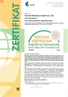Oeko-Tex 100 Zertifikat von Rummel Neustadt (Aisch)