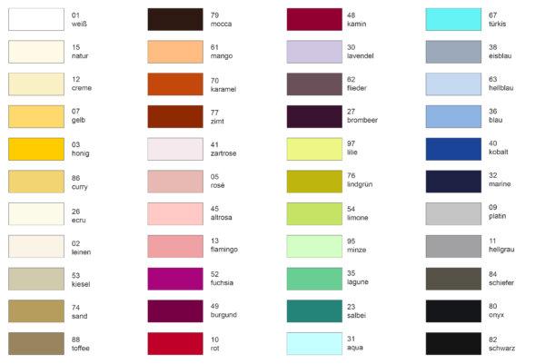Farbkarte Spannbetttücher 2021
